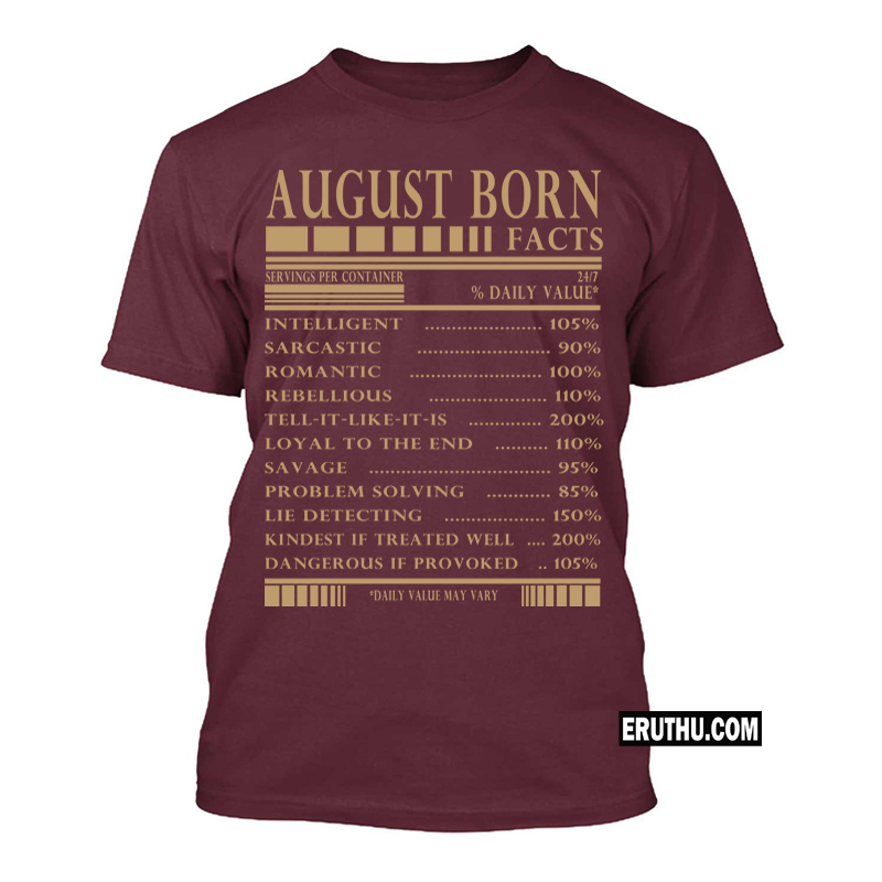 49fedf6c Buy August Born Facts Men T Shirts | Upto 50% Off products online at low  prices in India | Eruthu.com