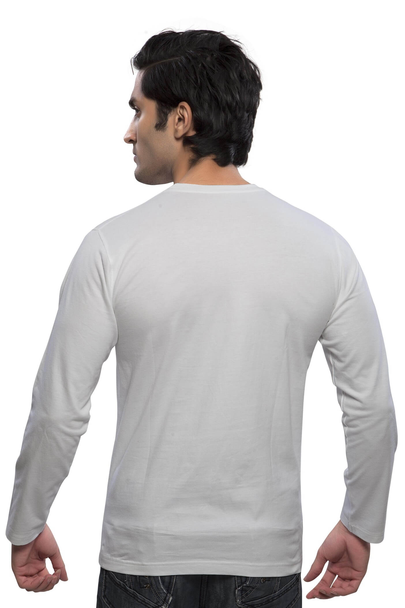 2f0388af7b26 White Plain Full Sleeve T Shirt   Round Neck T-Shirt