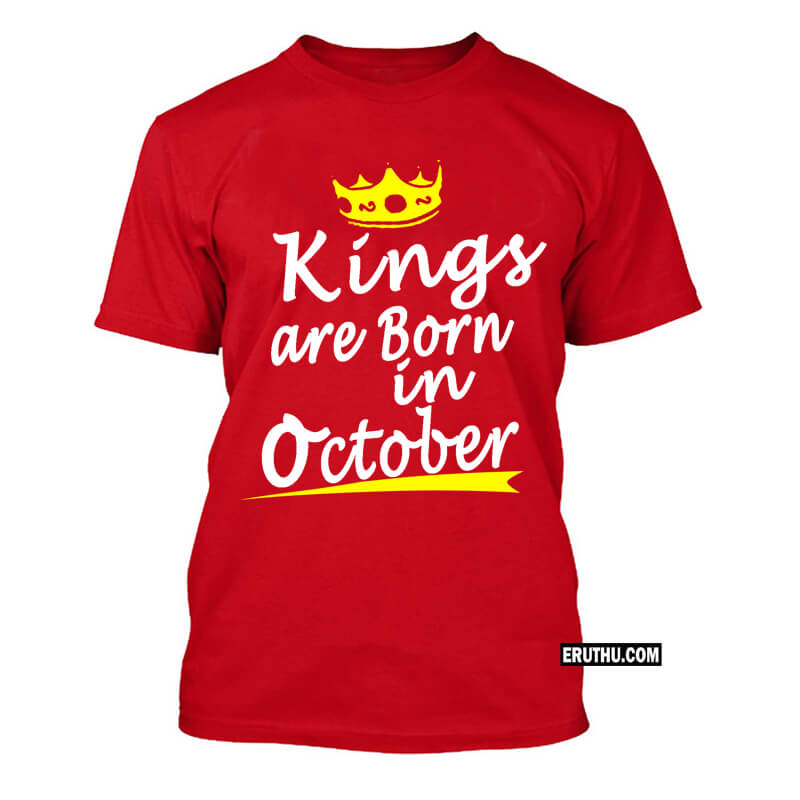 Kings Are Born In October Crown Symbol Birthday T Shirts