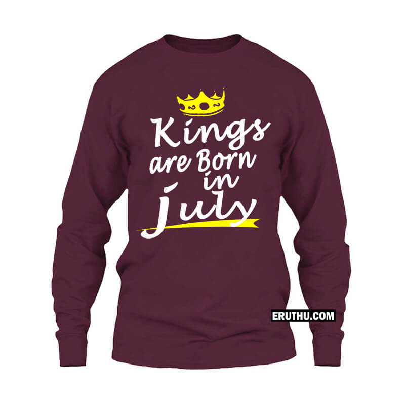 4d0db90f1 Kings Are Born In July Crown Symbol Full sleeve Birthday T Shirts | Upto 50%