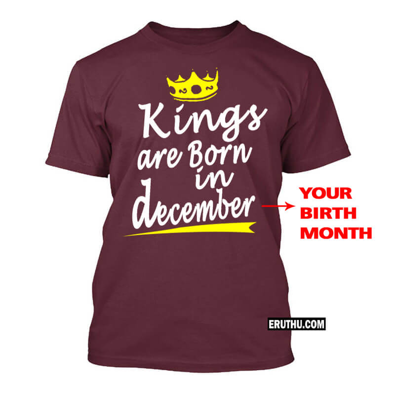 Customized Kings Are Born In December Crown Symbol Birthday T Shirts