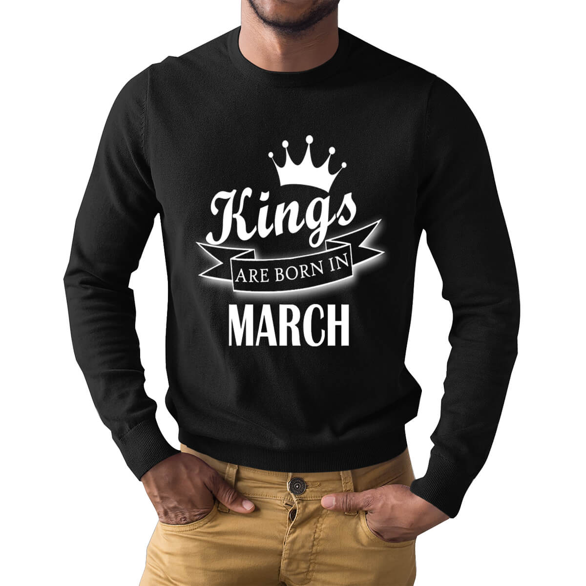 Kings Are Born In March Crown Ribbon Symbol Full Sleeve Birthday T Shirts