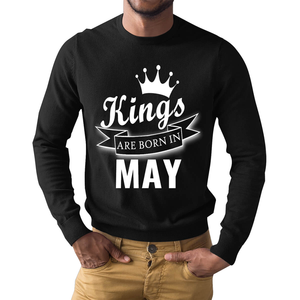 f3e283625 Kings Are Born In May Crown Ribbon Symbol Full Sleeve Birthday T Shirts |  Upto 50% Off